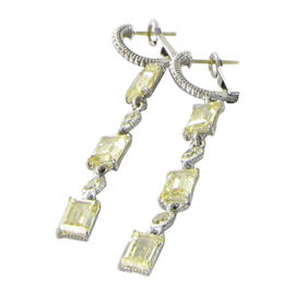 Judith Ripka 925 Sterling Silver Lafayette Triple Linear Drop Baguette Canary Earrings