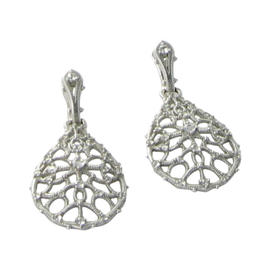 Judith Ripka 925 Sterling Silver Lace Teardrop Drops White Sapphires Earrings