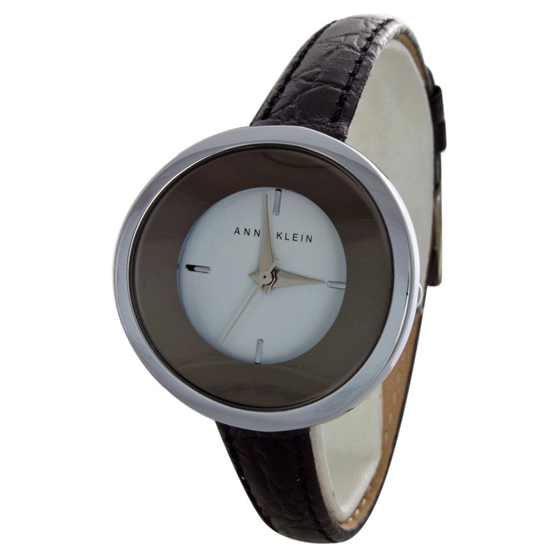 "Image of ""Anne Klein Ak-1083Wtsv Black Leather Mother of Peal Dial Quartz Womens"""