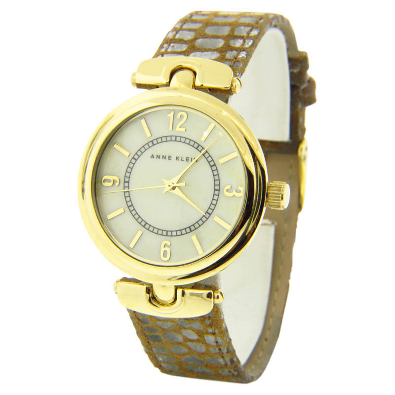 "Image of ""Anne Klein 10/9836Imsi Gold Plated Stainless Steel & Leather 35mm"""