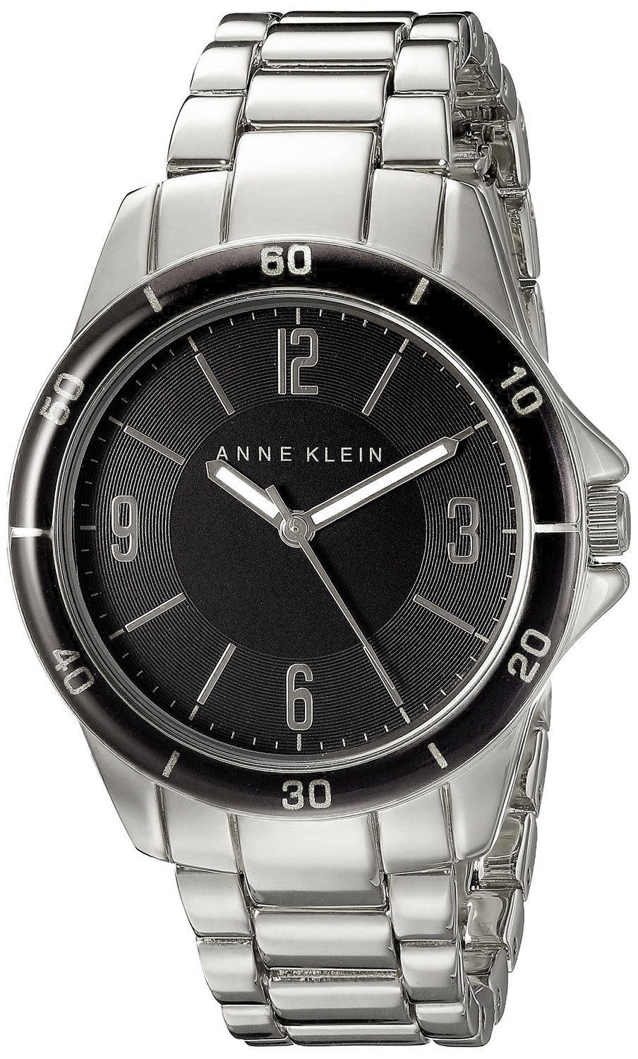 "Image of ""Anne Klein Ak/2059Bksv Black Dial Metal Bracelet Women's Watch"""