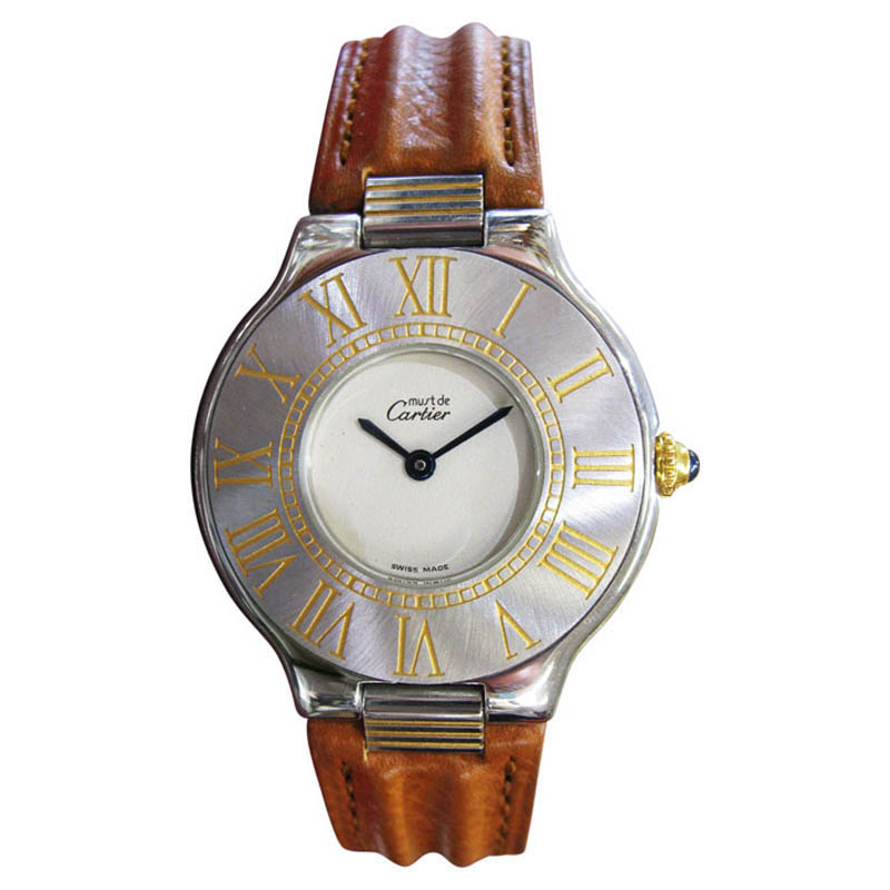 "Image of ""Cartier Must De Cartier 21 Steel and Gold Round Dress Watch"""