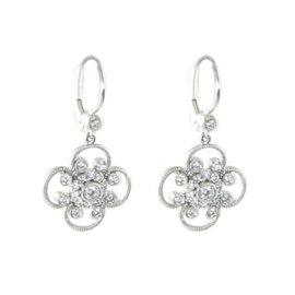 Leslie Greene 18K White Gold Diamonds Drops Earrings