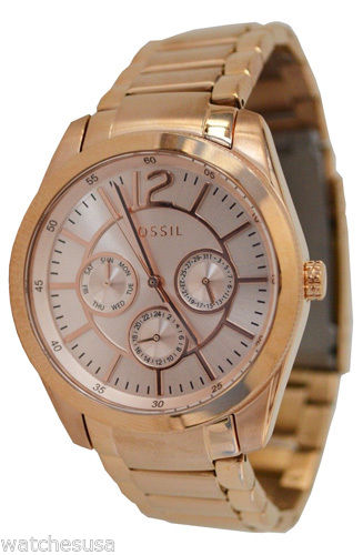 "Image of ""Fossil Bq1458 Rose Gold Tone Stainless Steel Quartz 38mm Womens Watch"""