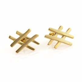 Tiffany & Co. 18K Yellow Gold Tic Tac Toe Paloma Picasso Stud Earrings