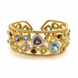 Sophia 18K Yellow Gold 18.75ct Diamonds & Multi-Gems Wide Cuff Bracelet