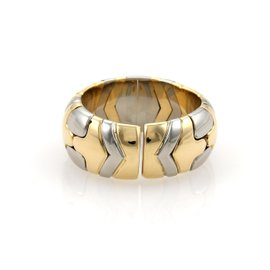 Bulgari 18K Yellow Gold & Stainless Steel Parentesi Open Band Ring Size Medium