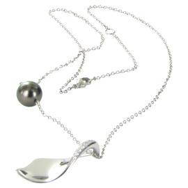 Mikimoto 18K White Gold South Sea Black Pearl 0.14ct Diamond Necklace