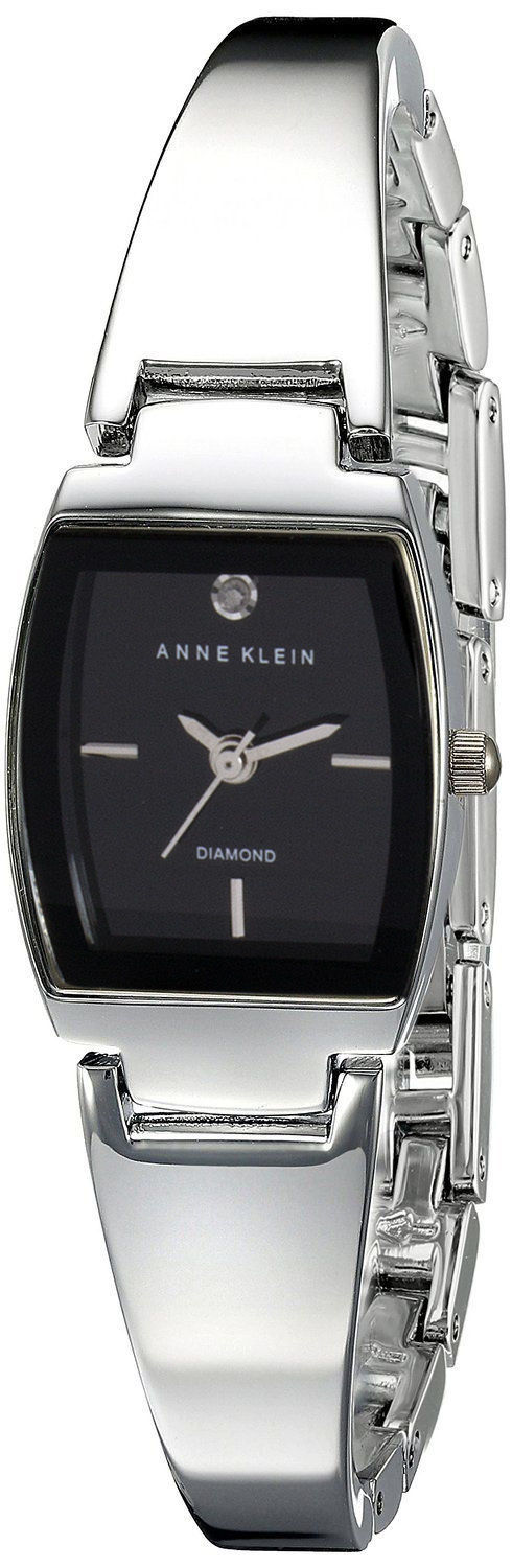 "Image of ""Anne Klein Ak/2083 Black Dial Metal Bangle Bracelet 19mm Watch"""