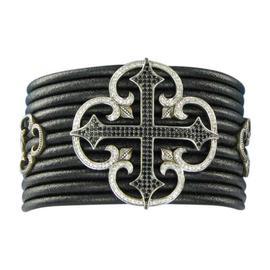 Scott Kay 925 Sterling Silver Spinel Sapphire Cross Black Leather Bracelet