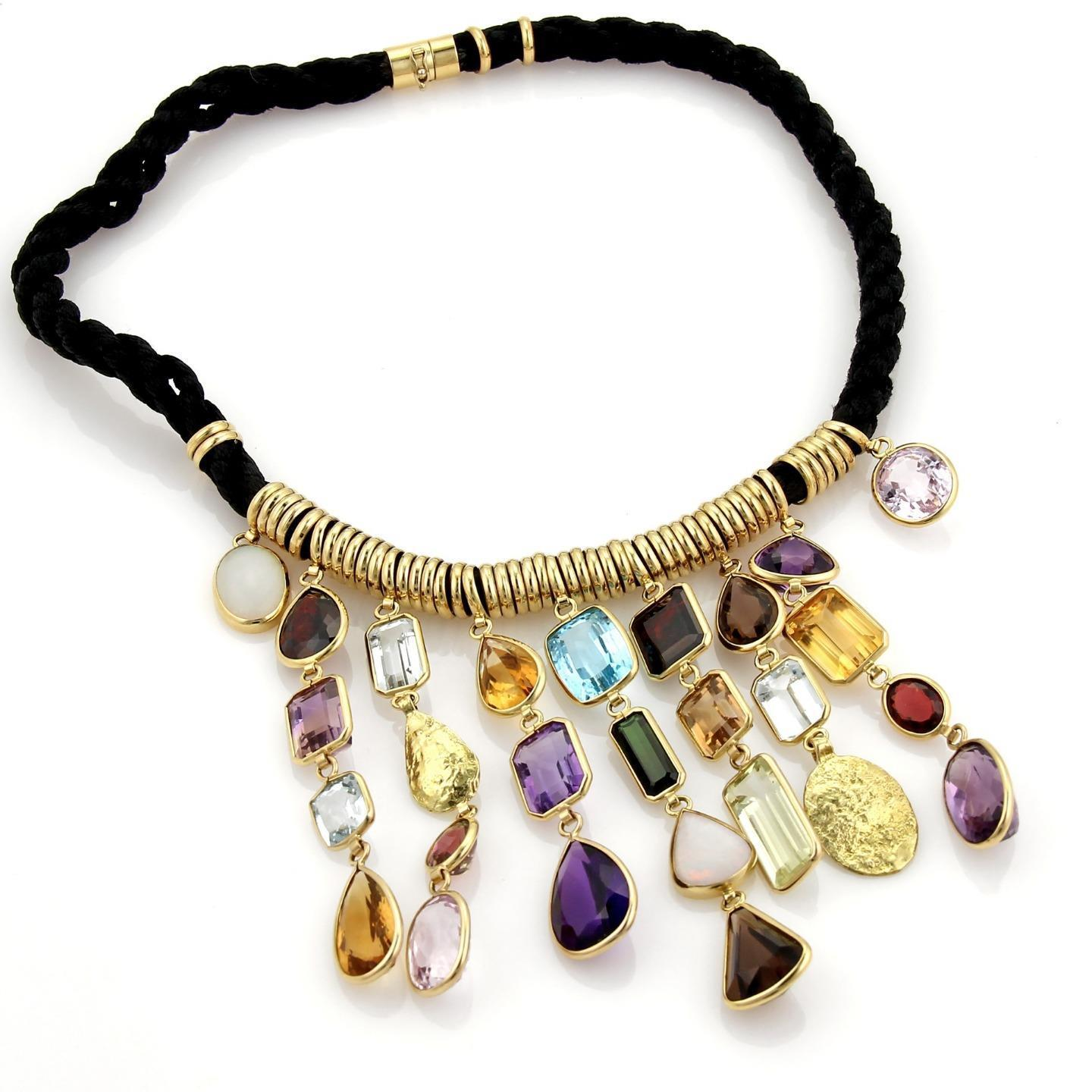 "Image of ""H. Stern 18K Yellow Gold Multi-Color Gems Dangling Pendants Cord"""