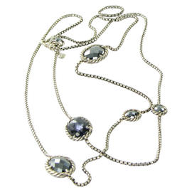 David Yurman 925 Sterling Silver Chatelaine Hematite Amethyst Doublet Necklace