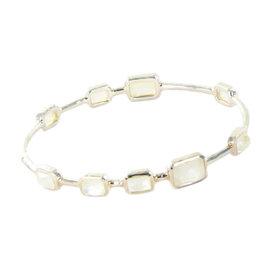 Ippolita Rock Candy 9 Stone Sterling Silver Rectangular Clear Quartz Mother of Pearl Bracelet