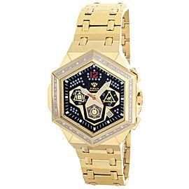Aqua Master W#356_1 Black Dial Gold Tone Stainless Steel Diamond Mens Watch