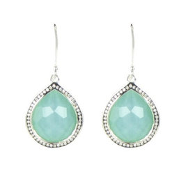 Ippolita 925 Sterling Silver 0.38ct Diamond & Turquoise Quartz Teardrop Earrings