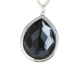 Ippolita 925 Sterling Silver Quartz Hematite & Diamond Necklace