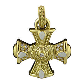 Judith Ripka 18K Yellow Gold Opal & Diamond Cross Pendant