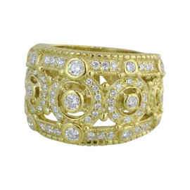 Judith Ripka 18K Yellow Gold Pave Diamond Ring Size 6