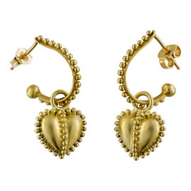 Judith Ripka 18K Yellow Gold Puffed Heart Dangle Earrings