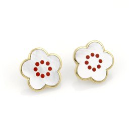 Tiffany & Co. 18k Yellow Gold Mother Of Pearl and Coral Inlay Floral Post Clip Earrings
