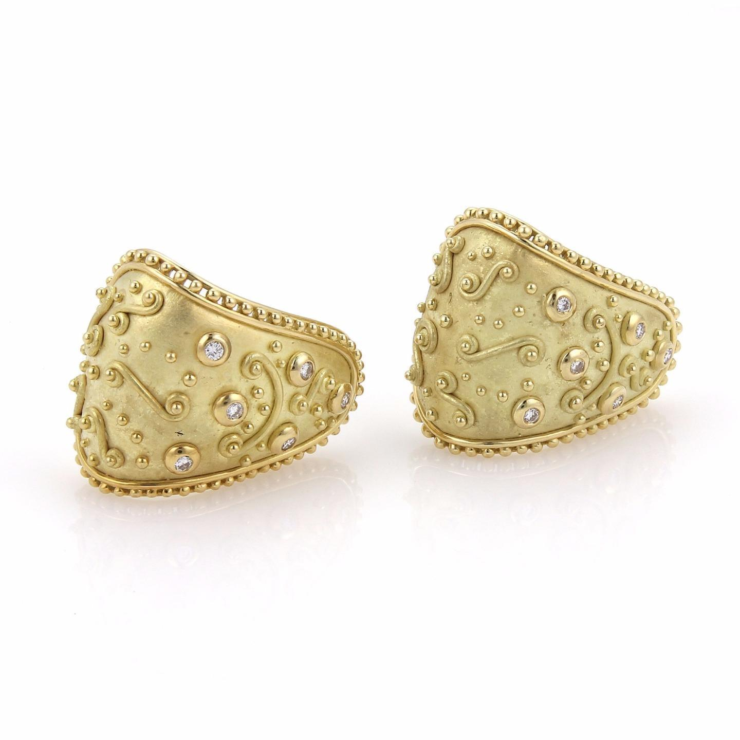 "Image of ""Roberge 18K Yellow Gold with 0.30ct Diamond Clip Earrings"""
