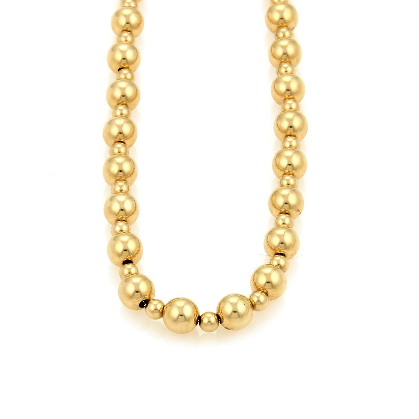 "Image of ""Vintage 14K Yellow Gold Large & Small Beaded Necklace"""
