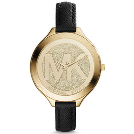 Michael Kors MK2392 Slim Runway Gold Dial Leather Strap 42mm Womens Watch
