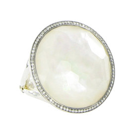 Ippolita 925 Sterling Silver 0.34ct Diamond Mother of Pearl & Quartz Ring Size 7