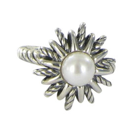 David Yurman 925 Sterling Silver & Pearl Ring Size 7