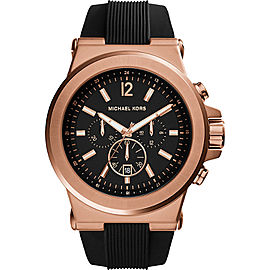 Michael Kors MK8184 Dylan Rose Gold Chronograph Black Dial Silicone 48mm Mens Watch