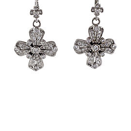 Judith Ripka 18K White Gold 1.00 Ct Paved Diamond Cross Dangle Earrings