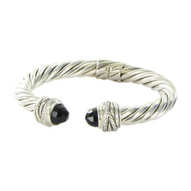 David Yurman Sterling Silver Crossover Onyx 0.15cts Diamond Bracelet