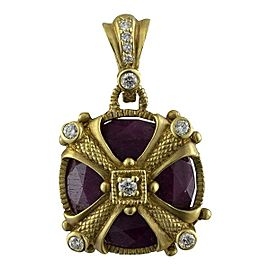 Judith Ripka 18K Yellow Gold Ruby 0.48 Ct Diamond Circle Pendant