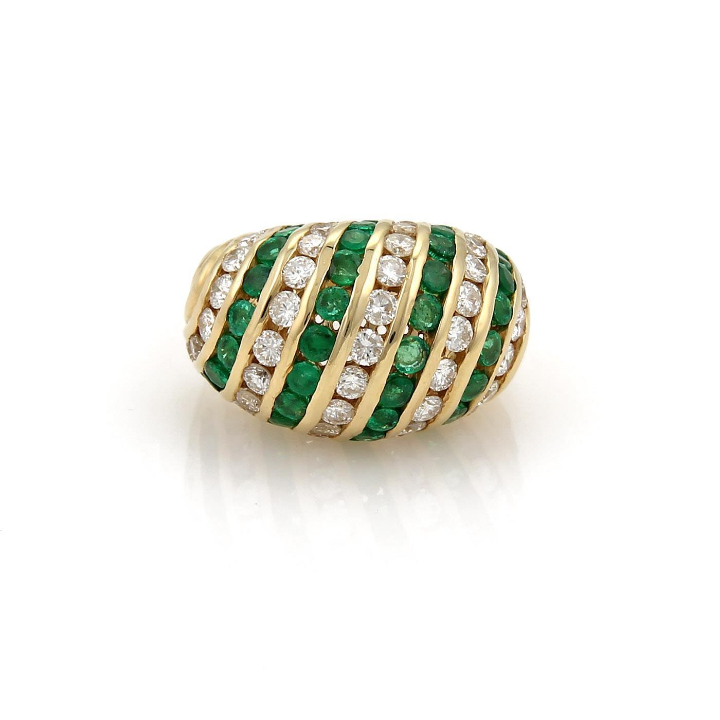 "Image of ""Hammerman Brothers 14K Yellow Gold with Diamond & Emerald Womens Ring"""