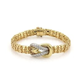 Fred Paris 18K Two Tone Gold Diamond Sailor Knot Fancy Link Bracelet