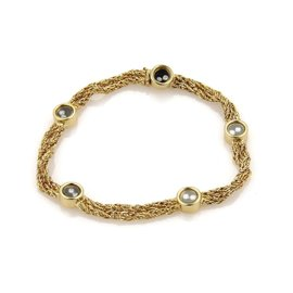 Chopard Happy 18K Yellow Gold Diamond Double Chain Bracelet