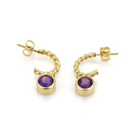 Tiffany & Co. 18K Yellow Gold Amethyst Dangle Charm Wire Hoop Earrings