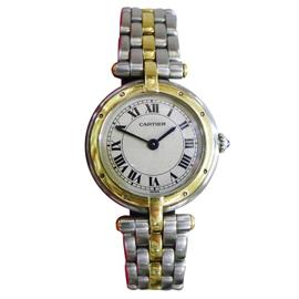 Cartier Panther 18K Gold Stainless Steel Roman Round 24mm Womens Watch