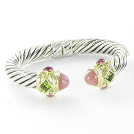 David Yurman Renaissance 14K Yellow Gold and Sterling Silver Guava Quartz, Peridot and Tourmaline Bracelet
