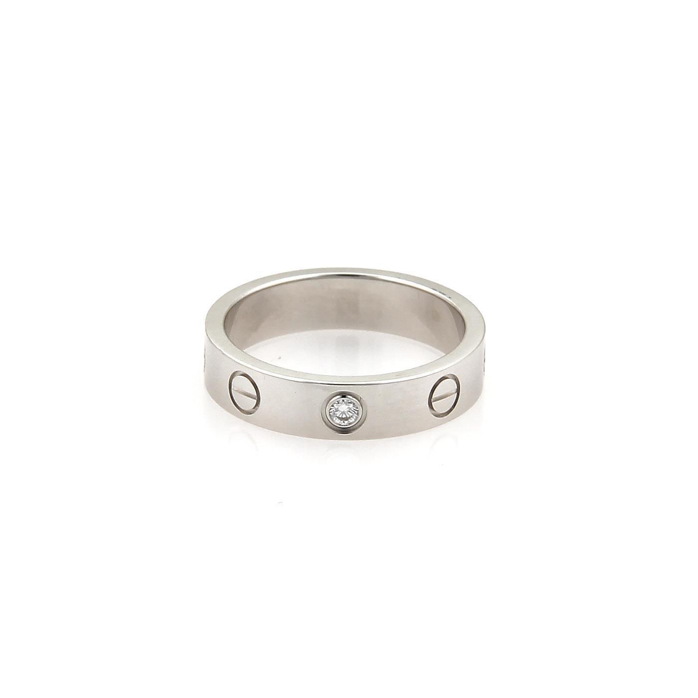 """""Cartier Mini Love 18K White Gold 0.05 Ct Diamond Band Ring Size 4.5"""""" 1070169"
