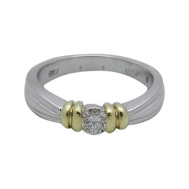 Scott Kay Platinum and 18K Yellow Gold 0.25 Ct Diamond Solitaire Wedding Anniversary Ring Size 7