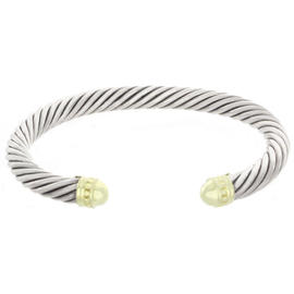 David Yurman Sterling Silver and 14K Yellow Gold Cable Bracelet