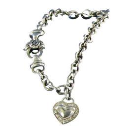 Scott Kay 925 Sterling Silver 0.14ct. Diamonds Heart Charm Rolo Bracelet