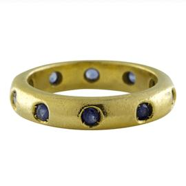 Judith Ripka 18K Yellow Gold Etoille Blue Sapphire Eternity Band, Size 5.75