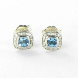 David Yurman 925 Sterling Silver Diamond 0.21ct Blue Topaz Stud Earrings