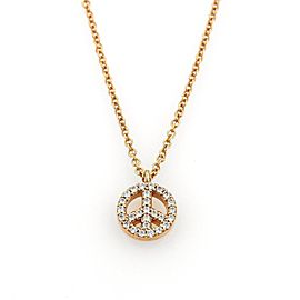 Tiffany & Co. 18K Rose Gold Diamond Peace Sign Pendant Necklace