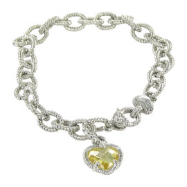 Judith Ripka Sterling Silver Fontaine Bracelet Canary Yellow Chain Necklace