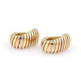 Bvlgari Bulgari Tubogas 18K Rose, Yellow and White Gold Oval Hoop Post Clip Earrings