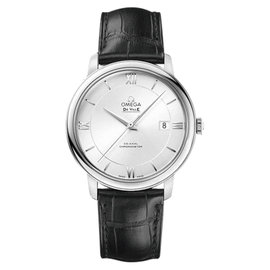 Omega 424.13.40.20.02.001 Stainless Steel & Leather Strap Silver Dial Automatic 39.5mm Mens Watch