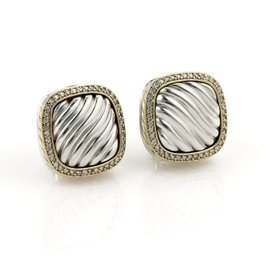 David Yurman Cable Sterling Silver and 18K Yellow Gold 0.80 Ct Diamond Post Clip Earrings